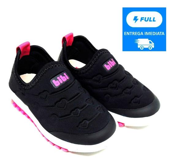 Tênis Infantil Feminino Bibi Roller Preto E Pink Sem Cadarço