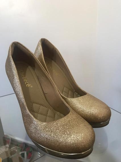 Sandália Sapato Feminino Bebecê N38 Usado Salto Nude