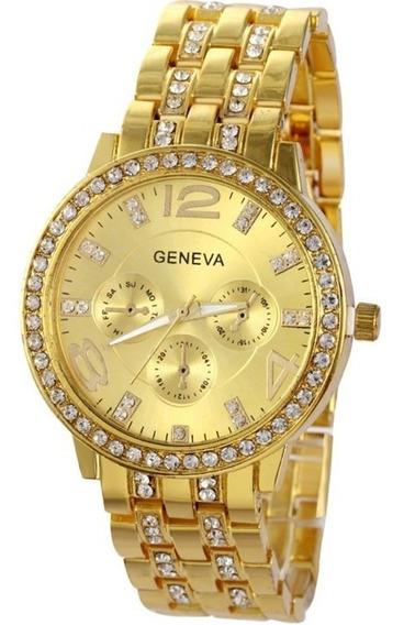 Relógio Feminino Geneva Dourado Com Strass Platinum De Aço