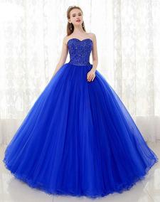 Vestido De Xv Años 15 Azul Rey Lentejuelas