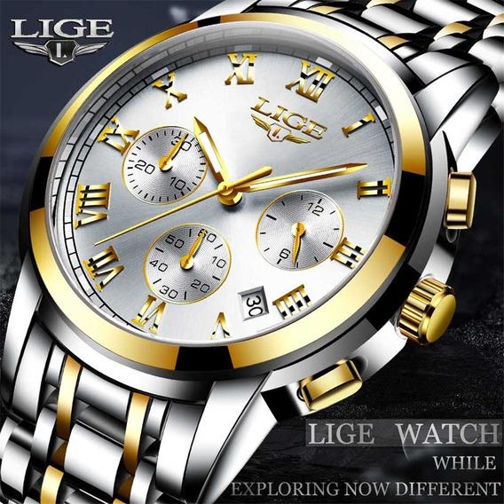 Relógio Masculino Lige 9810 Luxuoso + Brinde