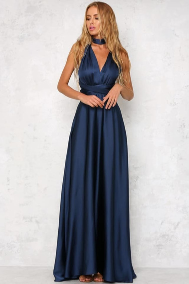 Vestido Largo Multiforma De Fiesta, Rojo-azul Marino- Negro