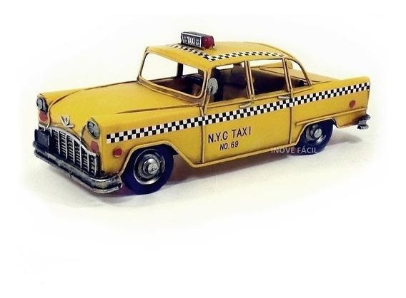 Taxi N Y Metal Vintage Artesanal Miniatura Decoração Retro