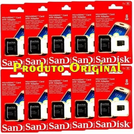 Kit Cartão De Memória Sandisk 8gb - 10 Unidades