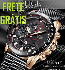 Frete Grátis Relógio Masc. Lige C/ Cronógrafo 100% Funcional