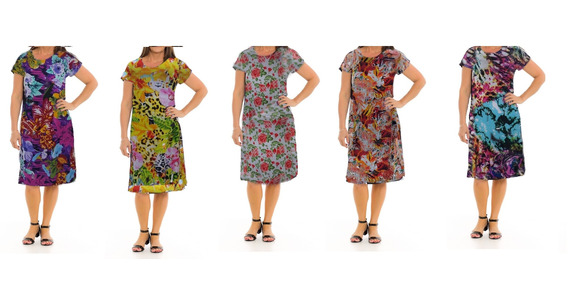 Vestido Senhora Malha Liganete Verão Kit 5 Peças Sortidas Es