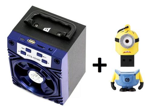 Combo Caixa De Som Portátil - Azul + Pendrive Minions 8gb