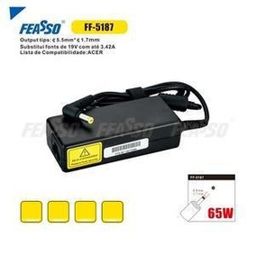 Fonte Ff-5187 P/ Notebook 65w 19v 3.42a Plug 5,5x 1,7 Feas