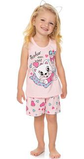 Roupa Bebê Infantil Menina Pijama Curto Regata E Shorts