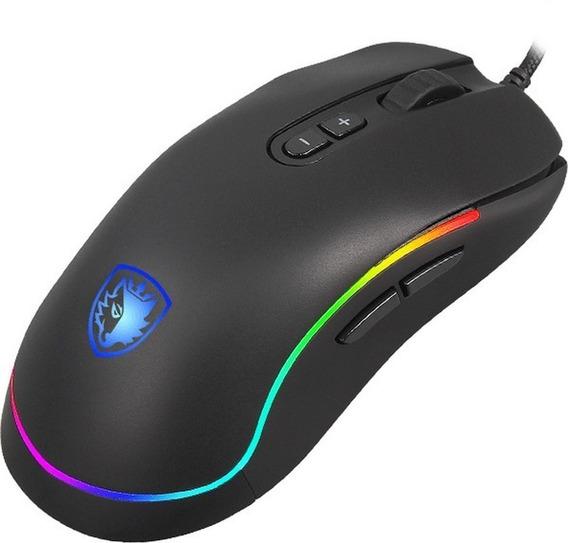 Mouse Gamer Sades Revolver Rgb 9 Teclas Macro Ambidestro