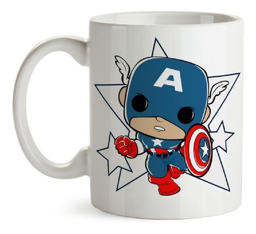 Imagen 1 de 1 de Taza Capitan America Marvel Funkoverso