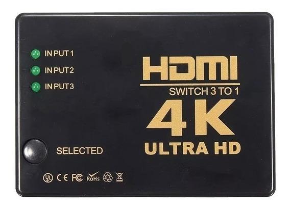 Adaptador Hdmi 3x1 Com Controle 4k