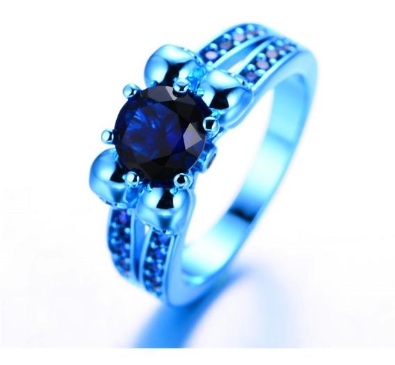 Anel Feminino Caveira Azul Rock Tamanho 15 Ju Uva