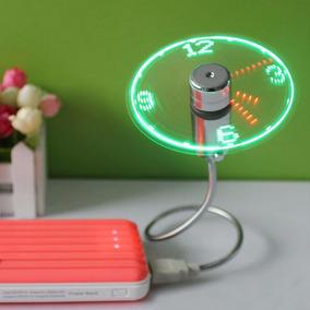 Relogio De Led Digital Usb Coller Mini Ventilador