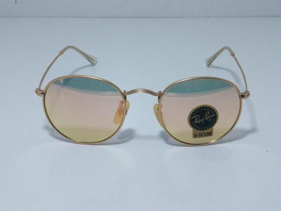 Óculos De Sol Redondo Round Retro Vintage Masculino Feminino Rose Espelhado Tamanho 50 M