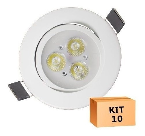 Kit 10 Spot Super Led 3w Redondo Amarelado Branco Quente