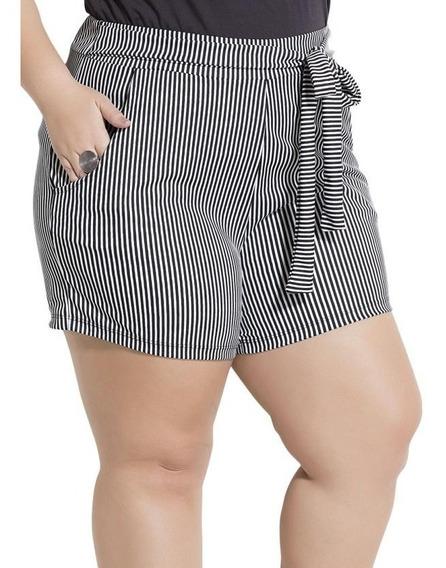 Kit 2 Shorts Plus Size Feminino Bolsos E Elástico Na Cintura