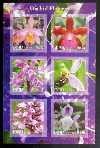 Eritrea Flores, Bloque 6 Sellos S Dentar Orqu 17 Mint L10019