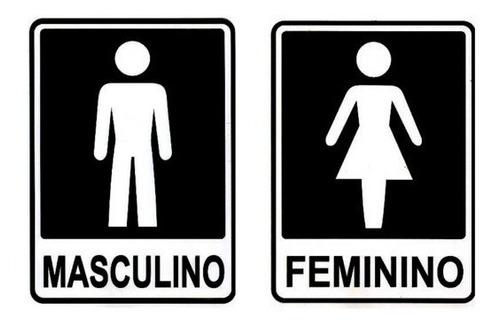 Kit 04 Placa Banheiro Masculino Feminino Cadeirante