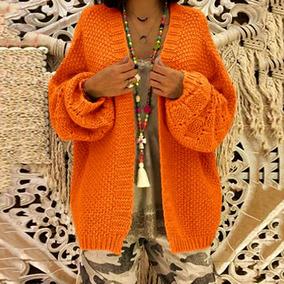 Casual Mujer Suelta De Punto Cardigan Color Slido Frente