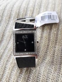 Relógio Original Armani Exchange Bracelete Preto Prata Couro