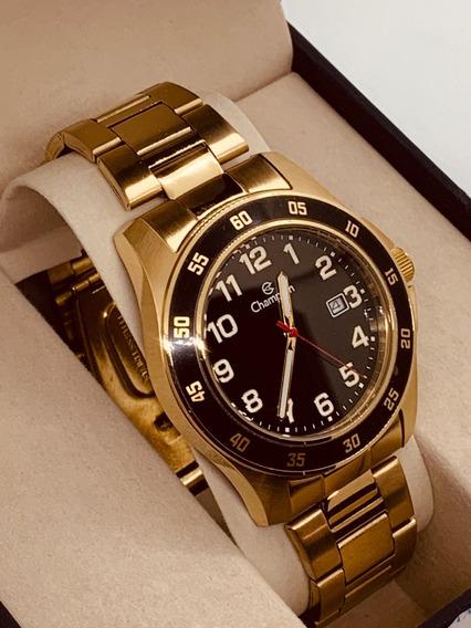 Relógio Champion Masculino Dourado Grande
