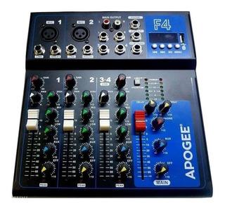 Consola Mixer Apogee F4 Audio 2mono 1 Stereo Usb Efectos 48v