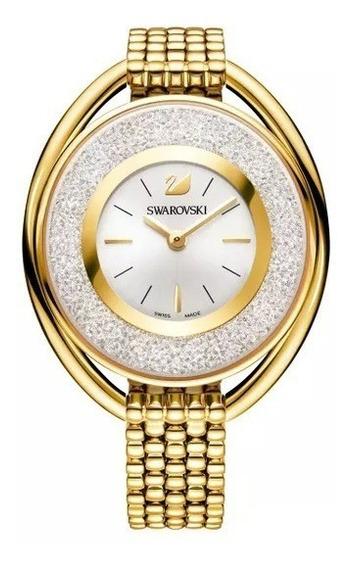 Relógio Swarovski Crystalline Oval Pulseira Gold Tone 036