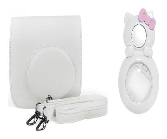 Bolsa Couro Sintético + Lente Selfie Instax Mini Gato Branca