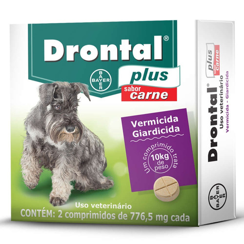Vermifugo Bayer Drontal Plus Cães 10 Kg 2 Compr. Sabor Carne