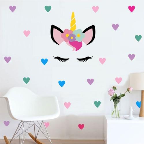 Imagem 1 de 2 de Adesivo De Parede Unicornio + 55 Corações Coloridos