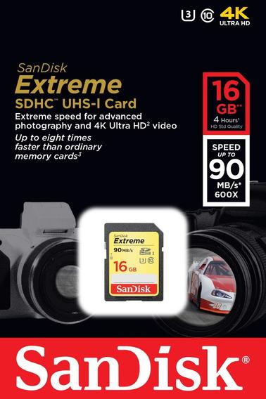 Cartão Sd Hc Sandisk Extreme 16gb 90mb/s Uhs-i C10 V30 4k