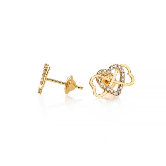 Brinco De Ouro 18k Infinito/coração Com Diamantes Br22135