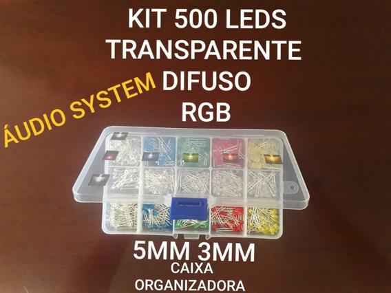 Caixa 500 Leds 5mm 3mm Rgb Auto Brilho 6 Cores