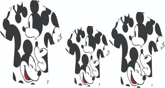 Blusas Adulto E Infantil - Multi Mickeys 1