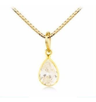 Pingente Gota Branca Transparente E Cordão De Ouro 750 G04
