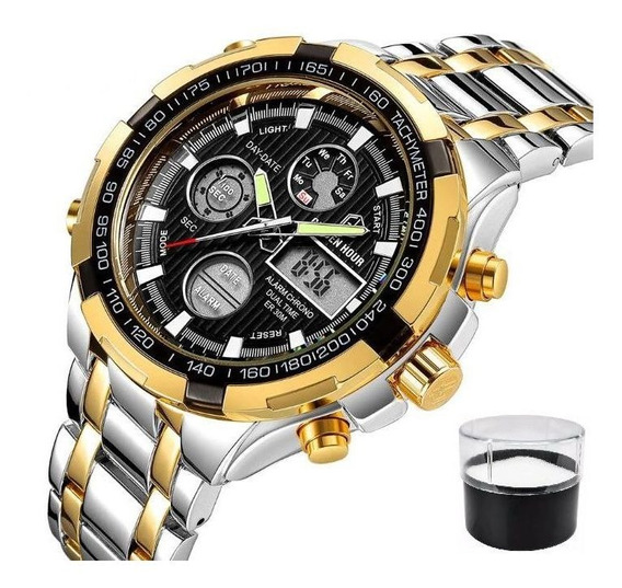 Relógio Masculino Digital Golden Hour Prata/dourado