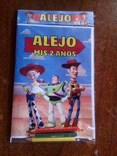 13 Libros Para Colorear Personalizado Toy Story + 3 Lapices