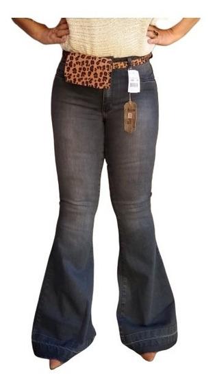 Calça Jeans Feminina Maxi Flare Com Cinto
