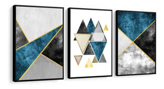 Quadros Abstratos Tons Azul Cinza Mármore E Dourado Moldura