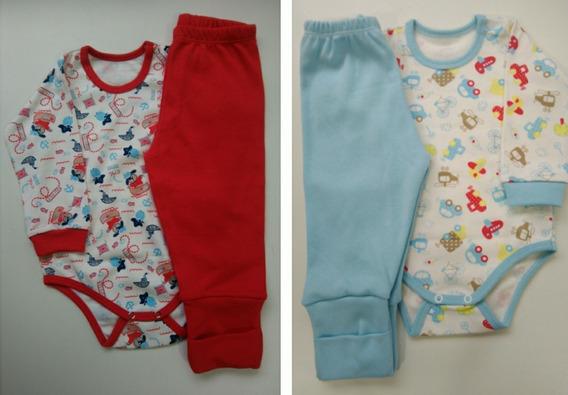 Kit 2 Conjuntos Body Calça 100% Algodão Menino Roupa Bebê