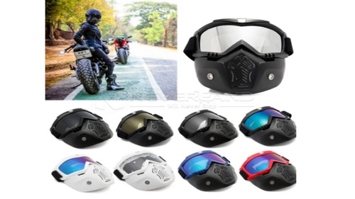 Mascara Careta Modular Moto Racer Casco Open Face Motocross