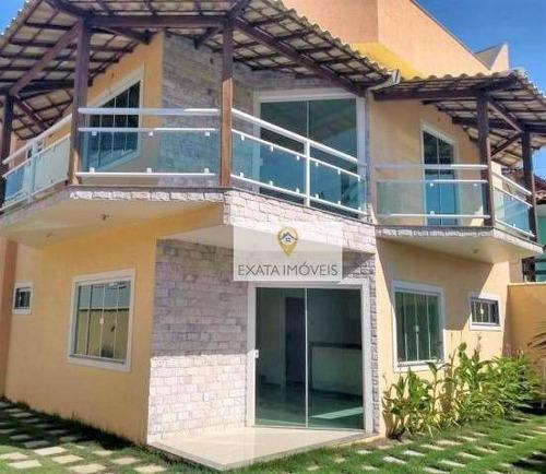 Imagem 1 de 28 de Casa Triplex Em Condomínio, Á 200m Da Rodovia, Rio Das Ostras - Ca1186