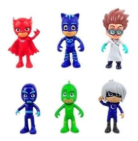 Kit 6 Bonecos Pj Masks Miniatura Herois De Pijama Brinquedo