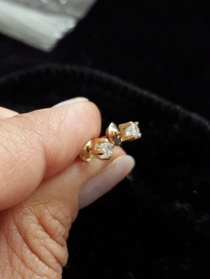 Brincos Ouro 18k Diamantes 20 Ptos, Promoção Mês Da Mulher!