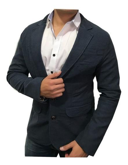 Blazer Saco Para Hombre Marino/negro Marca Peaceful