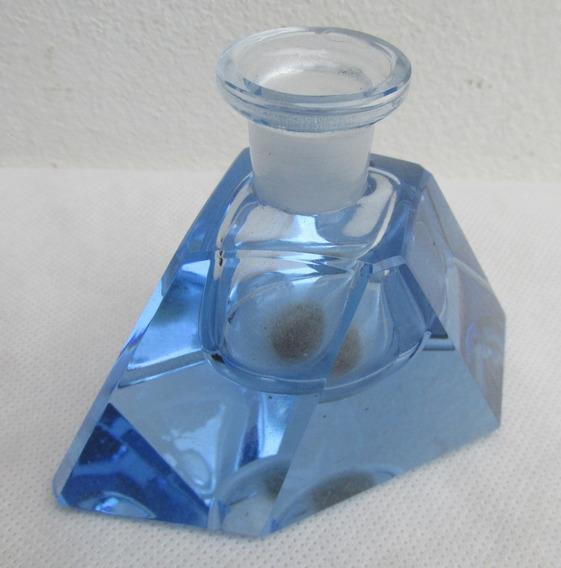 Antiguo Frasco De Perfume Vidrio Azul, Sin Tapa, Lindo #l