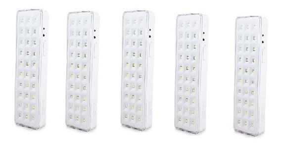 Kit 5 Lâmpadas Luminária De Emergência 30 Leds 2w Segurimax