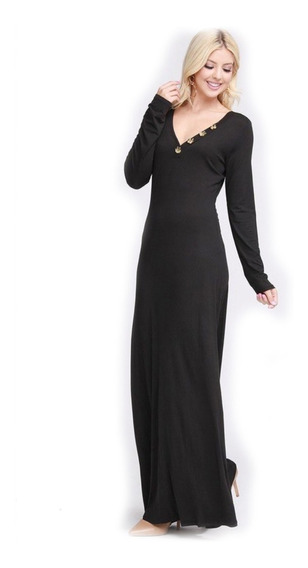 Vestido De Dama Largo Manga Larga Con Botones