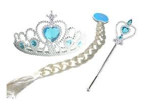 Imperdível!! Kit Princesa Com Coroa Trança E Varinha